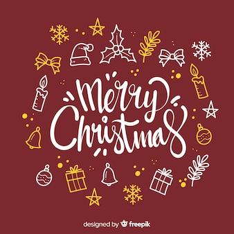Merry christmas belettering met decoratie-elementen