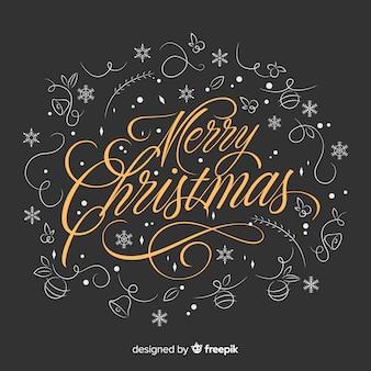 Merry christmas belettering met decoratie