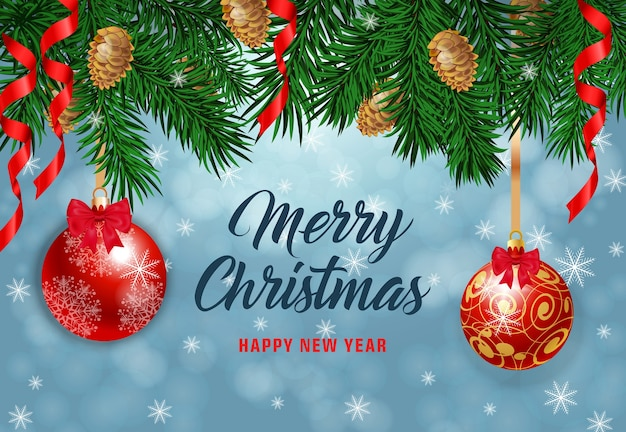 Merry christmas belettering met denneappels