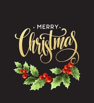 Merry christmas belettering met hulst bessen