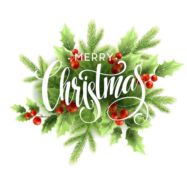 Merry christmas belettering met hulstbes. vectorillustratie eps10