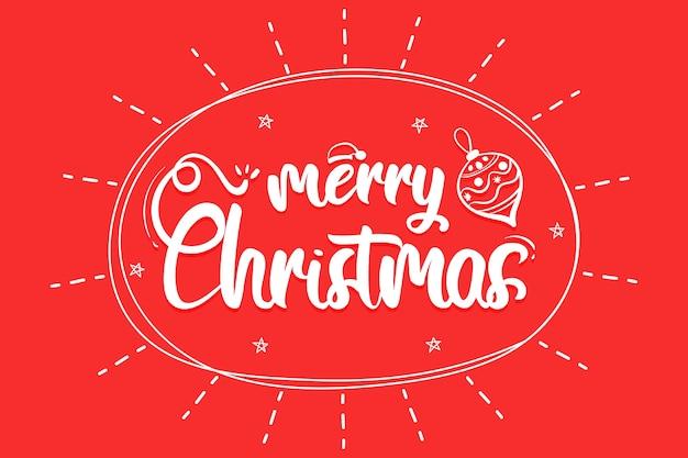 Merry christmas belettering met kerstbal