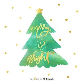 Merry christmas belettering met kerstboom