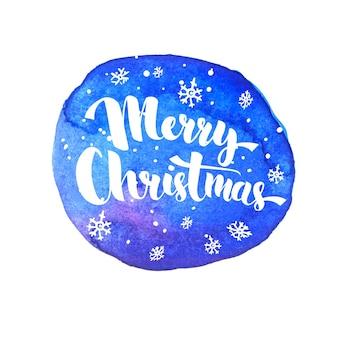 Merry christmas belettering met witte sneeuw op artistieke blauwe achtergrond. vector wenskaart met moderne kalligrafie.