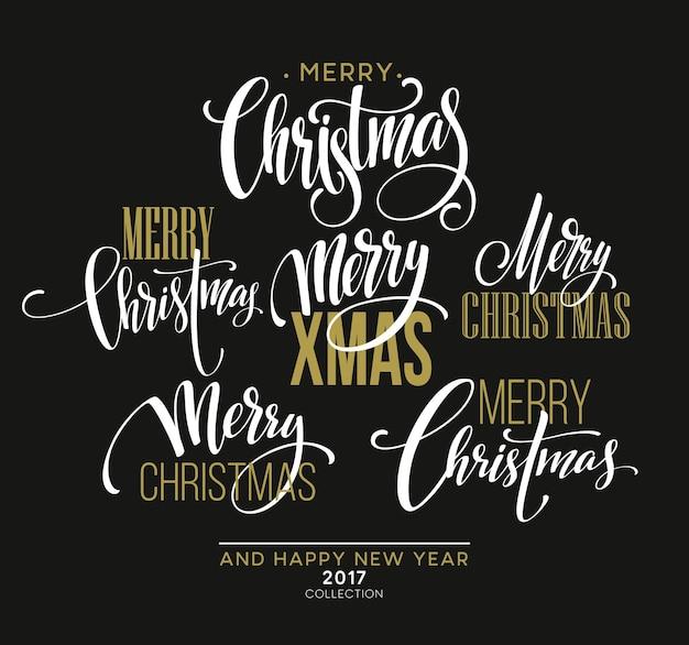 Merry christmas belettering ontwerpset. vectorillustratie eps10