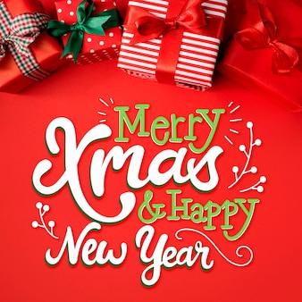 Merry christmas belettering op kerstmis afbeelding