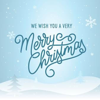 Merry christmas belettering sjabloon. wenskaart of uitnodiging