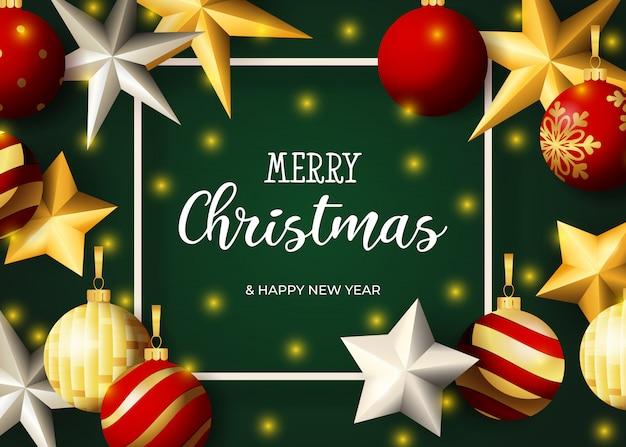 Merry christmas belettering, sterren en kerstballen