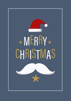 Merry christmas belettering tekst en kerstman hoed en baard op blauwe achtergrond