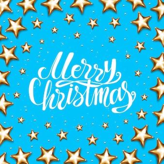 Merry christmas belettering vakantie goudfolie poster.