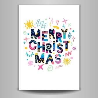 Merry christmas belettering wenskaart kleurrijk