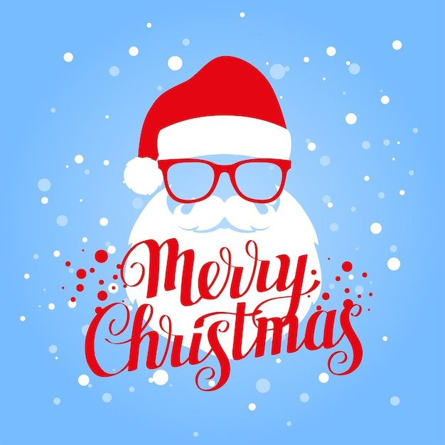 Merry christmas belettering wenskaart met santa