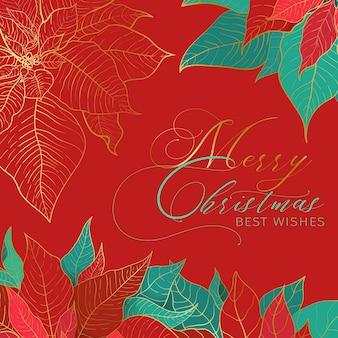 Merry christmas beste wensen vierkante rode banner. rode en groene poinsettia bladeren met gouden lijn op een rode achtergrond. elegantie decor voor kerstmis en nieuwjaar