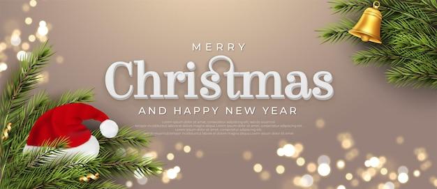 Merry christmas bewerkbaar teksteffect geschikt voor kerstbanner