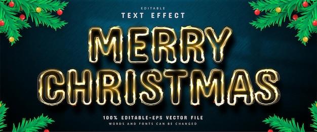 Merry christmas bewerkbaar teksteffect in gouden stijl