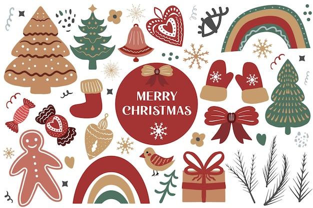 Merry christmas boho set elementen. boheemse vakantie collectie clip art hand tekenstijl. peperkoek, kerstboom, geschenken. vector illustratie.