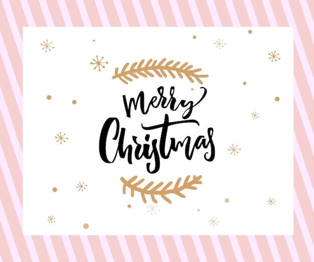 Merry christmas brush belettering met minimalistische versieringen op witte en roze achtergrond. wenskaartsjabloon.