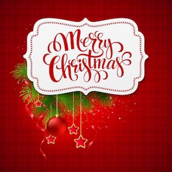 Merry christmas card creatief label, wenskaart.