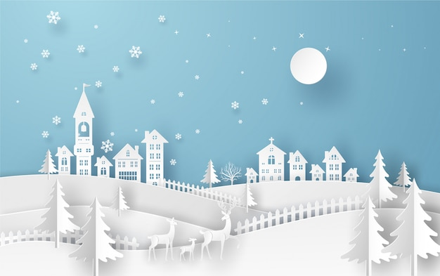 Merry christmas card in winter landscape with family deer, houses and building