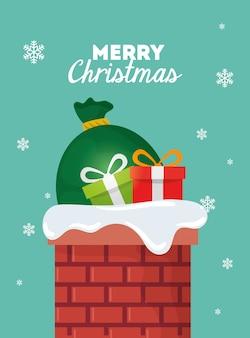 Merry christmas card met geschenkdozen en tassen presenteert in schoorsteen