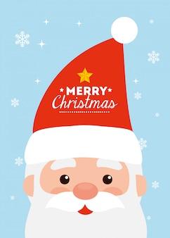Merry christmas card met gezicht van de kerstman