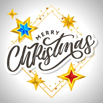 Merry christmas card met hand getrokken belettering