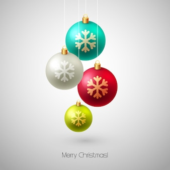 Merry christmas card met kerstballen