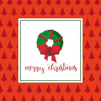 Merry christmas card met krans laurier