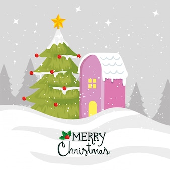Merry christmas card met pijnboom en huis gevel
