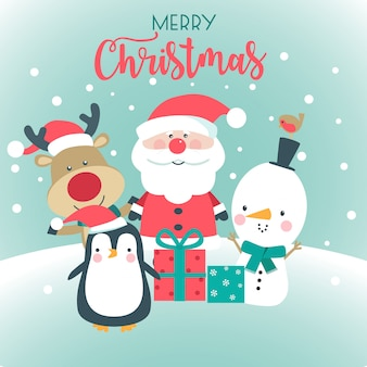 Merry christmas card met santa, sneeuwpop, herten en pinguïn.