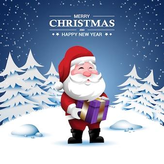 Merry christmas card met santa