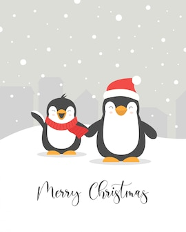 Merry christmas card met schattige pinguïns