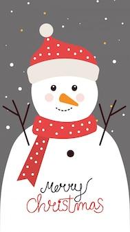 Merry christmas card met sneeuwpop