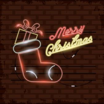 Merry christmas card neonlichten