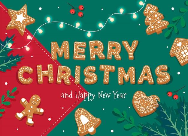 Merry christmas card sjabloon met peperkoek letters en koekjes.