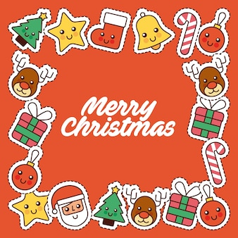 Merry christmas card uitnodiging decoratie frame pictogrammen