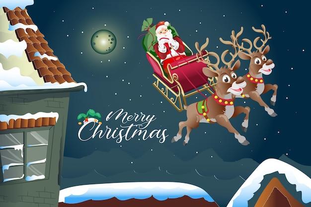 Merry christmas cartoon groet met flying reindeer en santa claus