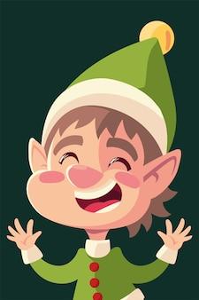 Merry christmas cartoon helper karakter viering illustratie