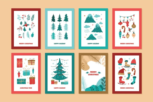 Merry christmas cartoon kaarten collectie, met mooie hand getrokken illustratie