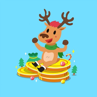Merry christmas cartoon rendieren met grote geld munten stapel