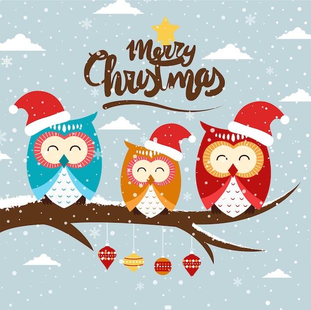 Merry christmas cartoon schattig illustratie.