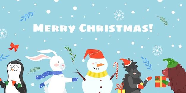 Merry christmas celebration platte vectorillustratie, cartoon dierlijke metgezellen van happy christmas
