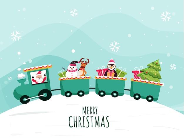Merry christmas celebration train op lichtturkoois