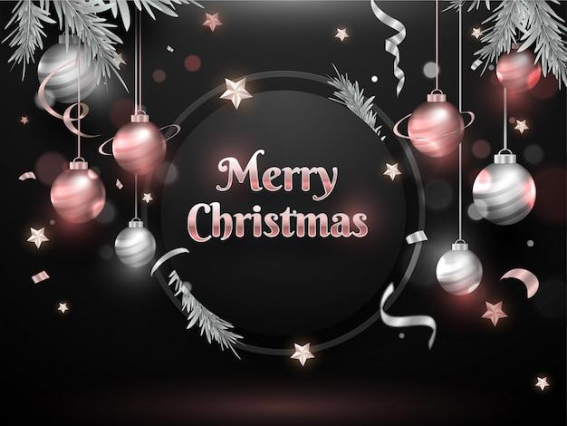 Merry christmas celebration wenskaart versierd met hangende kerstballen, sterren en pijnboombladeren op zwarte bokeh.