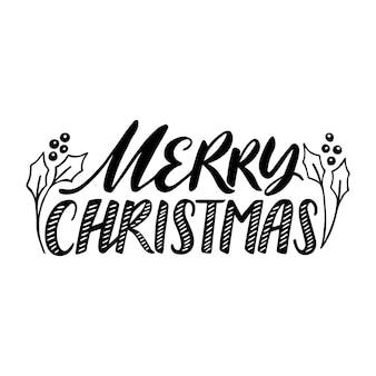 Merry christmas citaat, vectortekst voor ontwerp wenskaarten, foto-overlays, prenten, posters. handgetekende letters.