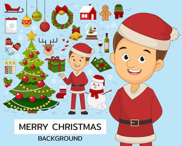 Merry christmas concept achtergrond. platte pictogrammen.