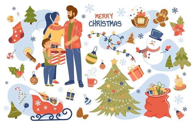 Merry christmas concept geïsoleerde elementen set
