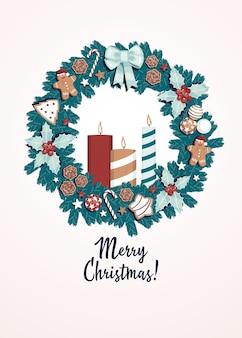 Merry christmas-concept met kaarsen en de kroon van kerstmis