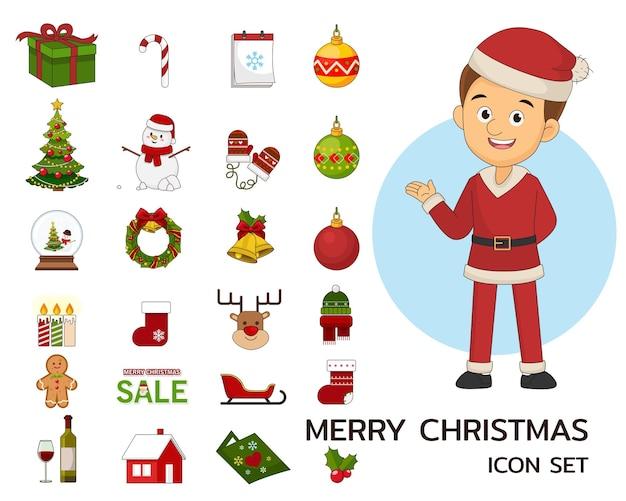Merry christmas concept plat pictogrammen.