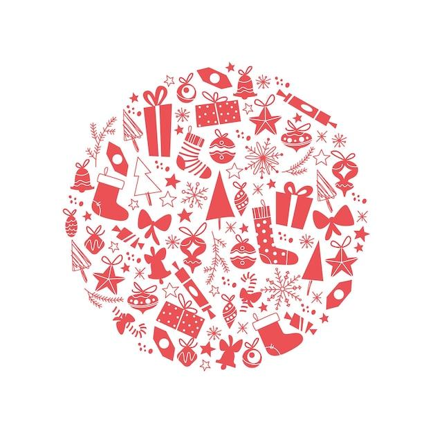 Merry christmas conceptontwerp geïsoleerd. vectorillustratie platte doodle. voor kaarten, banners, prints, verpakkingen, uitnodigingen.